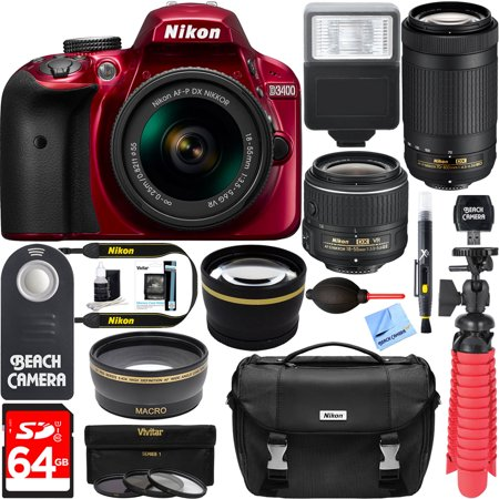 Nikon D3400 24.2 MP DSLR Camera + AF-P DX 18-55mm VR & AF-P DX 70-300mm ED Lens + Bundle 64GB SDXC Memory + Photo Bag + Wide Angle Lens + 2x Telephoto Lens + Flash + Remote +Tripod+Filters (Red)