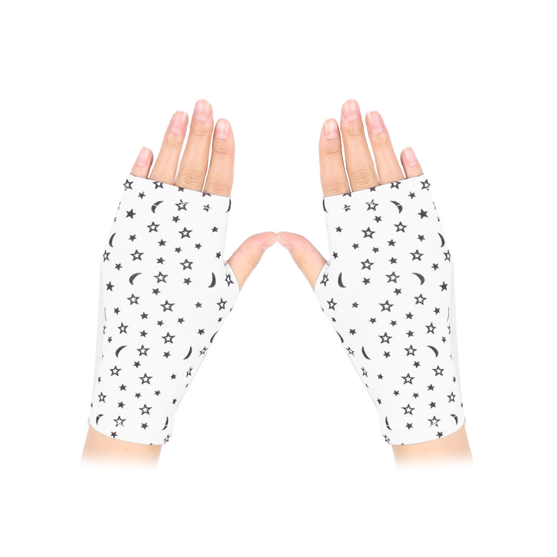 Women Black Star Pattern Open Finger Fingerless Gloves Mittens White Pair