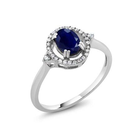 1.33 Ct Oval Blue Sapphire Gemstone Birthstone 925 Sterling Silver Women's (Genuine Blue Sapphire Stone)