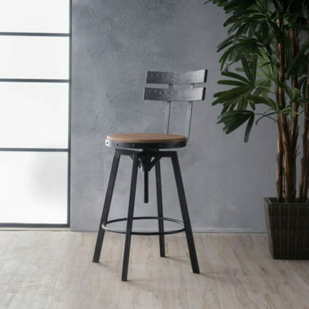 Alanis Black Brush Silver Firwood Bar Stool