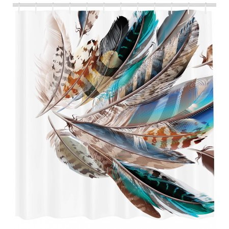 Feathers Shower Curtain Vaned Types And Natal Contour Flight Bird Animal Skin Element Print Fabric Bathroom Set With Hooks Teal Brown