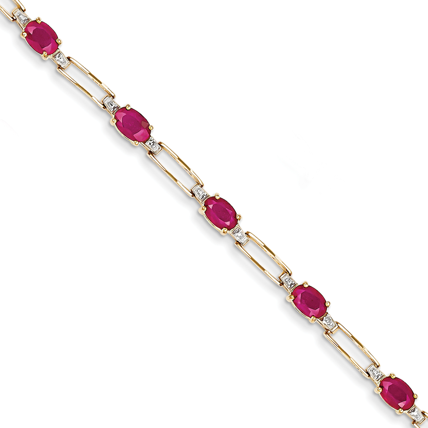 14k Yellow Gold Diamond and Composite Ruby Oval Bracelet by