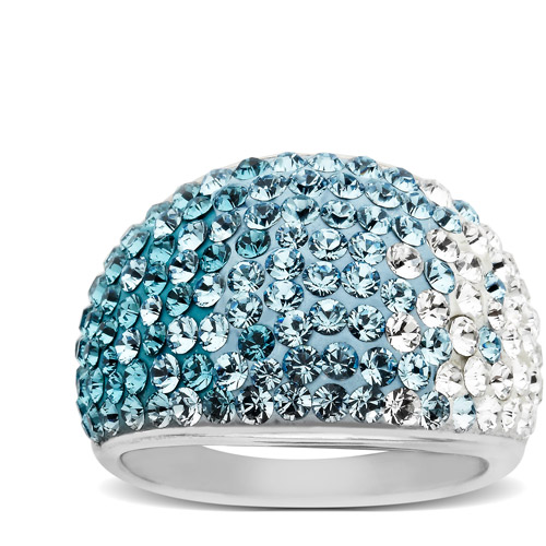 Crystaluxe Dome Ring with Teal-Sky-White Fade Swarovski Crystals in Sterling Silver