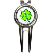 Lots of Luck/Lucky Irish Four Leaf Clover Golf Divot Repair Tool and Ball Marker