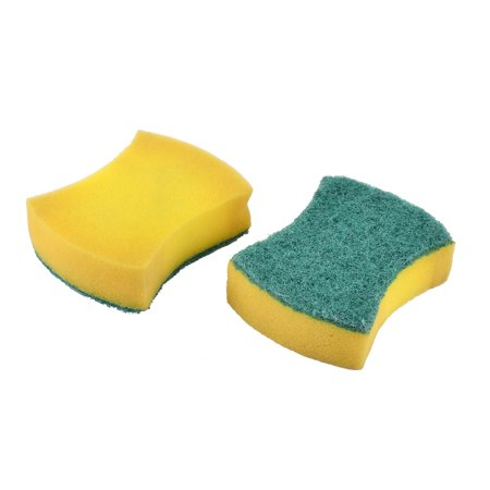 Home Kitchenware Sponge Bowl Dish Cleaning Cleaner Pad Green Yellow 2pcs - image 1 de 1