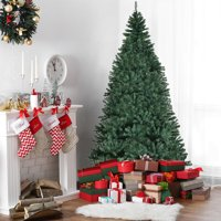 Costway 8Ft Pre-Lit Artificial Christmas Tree Premium Hinged w/ 750 LED Lights & Stand