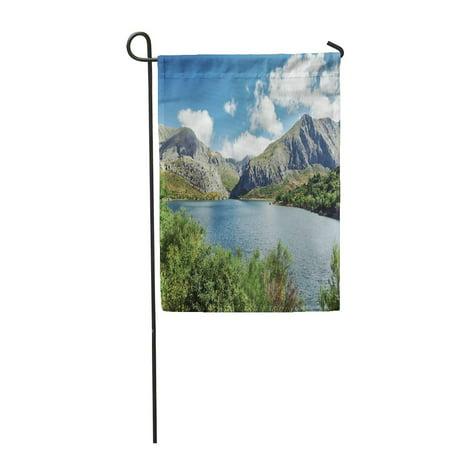 LADDKE Mountains and Lake Summer Landscape of Barrios De Luna Reservoir Garden Flag Decorative Flag House Banner 28x40 inch ()