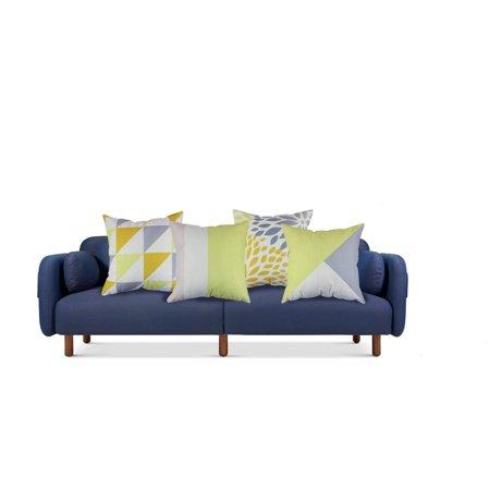 Tayyakoushi Set Of 4 Yellow Geometric Decorative Throw Pillow Case Cushion Cover 18x18