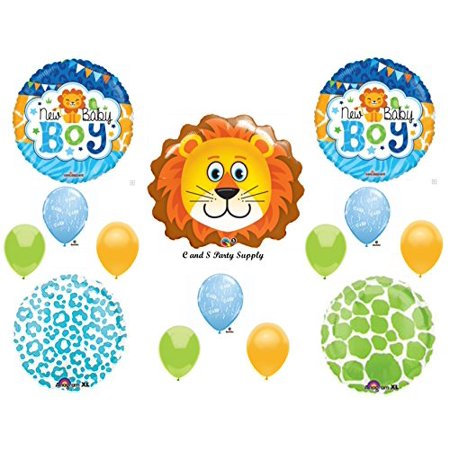 BABY BOY LION SHOWER Balloons Decorations Supplies Jungle Safari Giraffe
