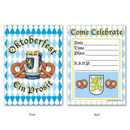 "Club Pack of 96 Multi-Colored ""Come Celebrate"" German Oktoberfest Party Invitations 5.5"