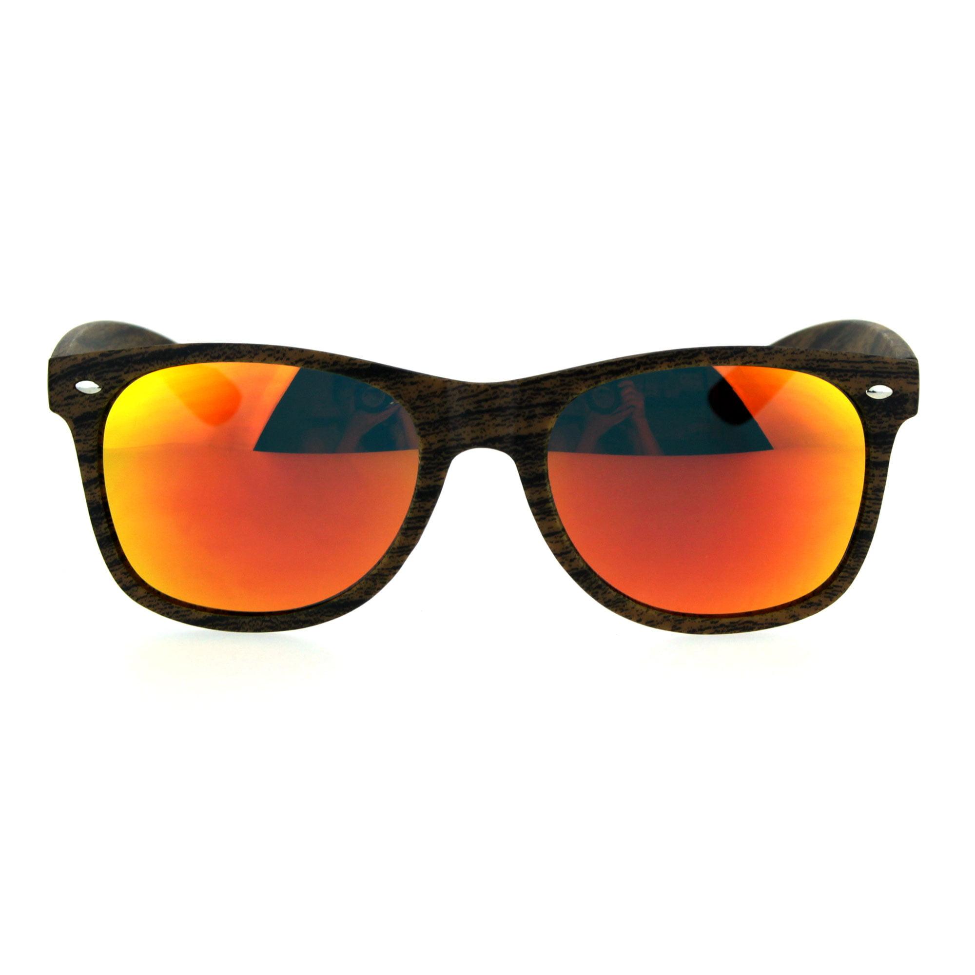 Color Mirror Wood Grain Classic Hipster Plastic Horned Rim Sunglasses Brown Orange