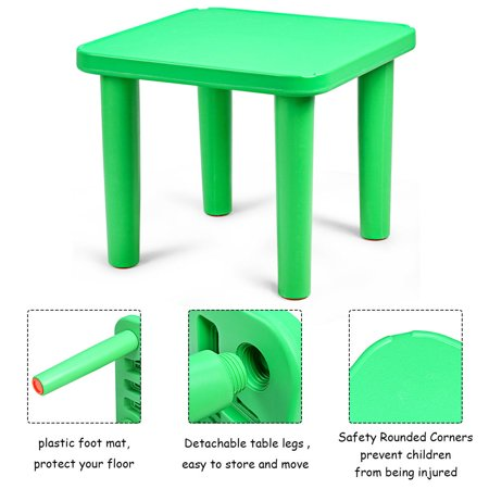 Kids Plastic Table and 4 Chairs Set Colorful Playroom School Home Furniture New - image 4 de 10