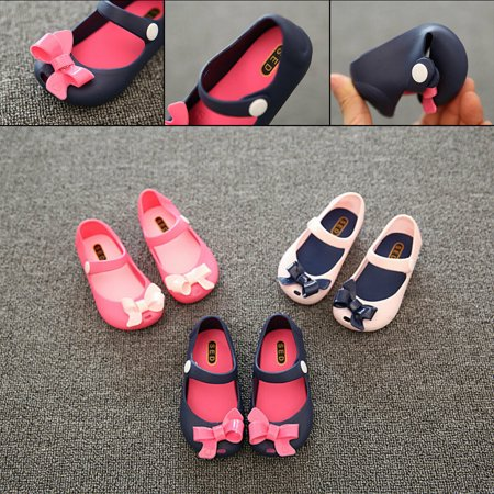 Infant Baby Girls Kids Princess Non-Slip Plastic Bow Summer Buckle Shoes 1-6Y