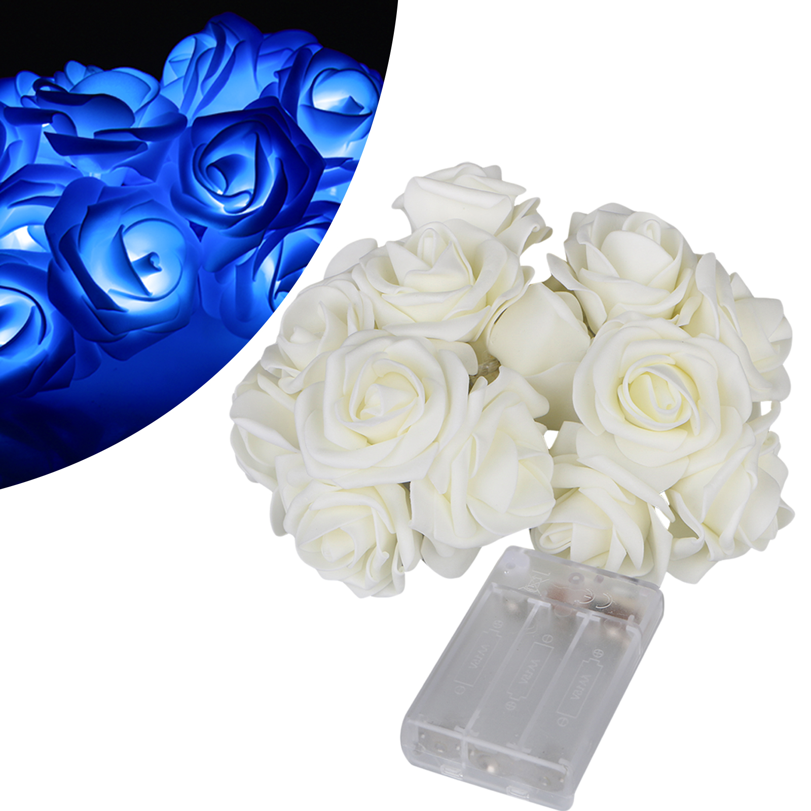 20 LED Battery Operated Rose Flower String Lights Wedding Garden Christmas Decor Decoration