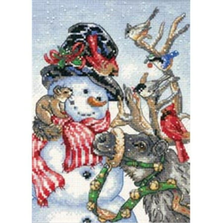 "Dimensions Gold Collection Petite ""Snowman and Reindeer"" Counted Cross Stitch Kit, 5"" x 7"""