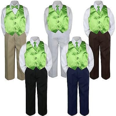 4pc Boy Suit Set Lime Green Necktie Vest Baby Toddler Kid Formal Pants - Lime Suit