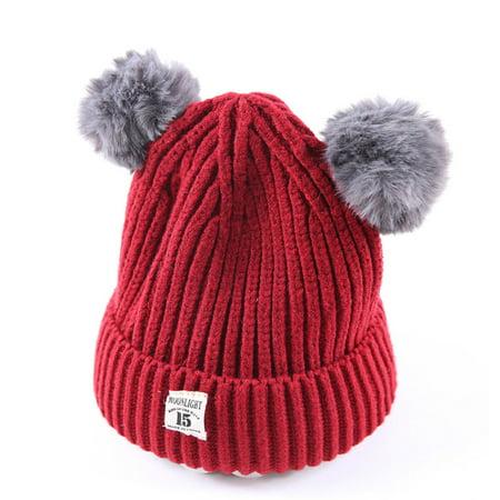 Baby Kids Beanie For Boys Girls Cap Cotton Knitted Ball Warm Children Hats  - Walmart.com 9158ea59b65