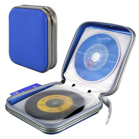 TSV Portable 40 CD Disc Storage Case Bag VCD/ DVD Wallet Holder Album Box for Car, Home, Office and Travel Red/Blue