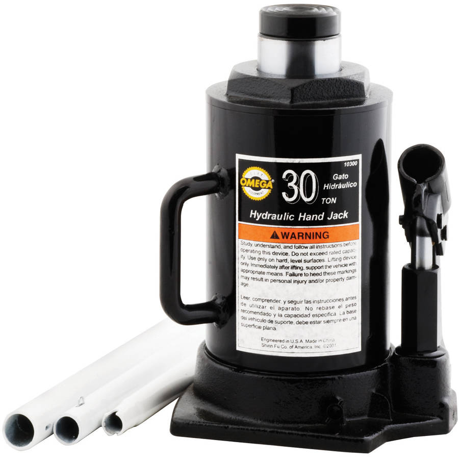 Omega 10300 Black Hydraulic Side Pump Bottle Jack, 30 Ton Capacity