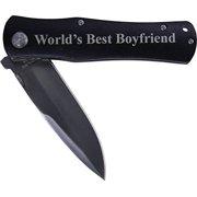 World's Best Boyfriend Folding Pocket Knife - Great Gift for Birthday,valentines Day, Anniversary or Christmas Gift for Boyfriend, Bf (Black Handle)