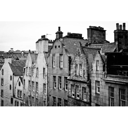 Side View of Old Houses in Edinburgh, Scotland, Uk  Black and White Print  Wall Art By pink candy