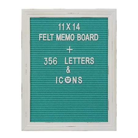Decorative 11x14 Felt Memo Board with Worn White Wooden Frame and 356 Letters, Numbers, and Emojis, Turquoise