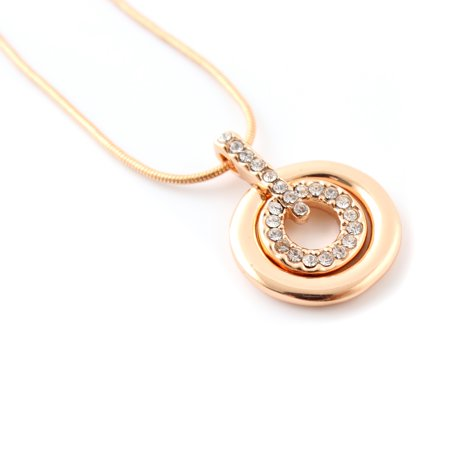 Women Crystal Rhinestone Silver Plated Necklace with Concentric Circles Pendant Gift - Rose