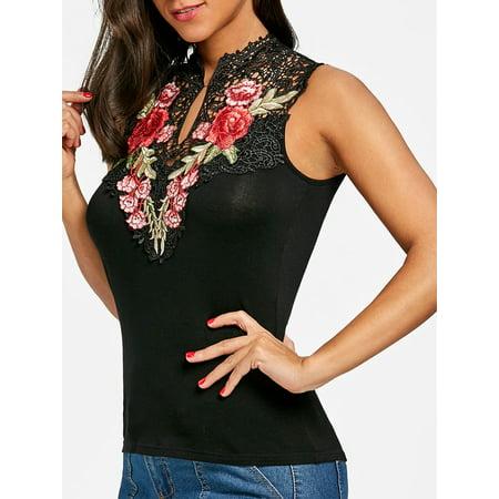 1a7fd7a862fc DRESSFO - Women Tank Top Casual Flower Embroidery Open Back Tank Tops For  Women - Walmart.com