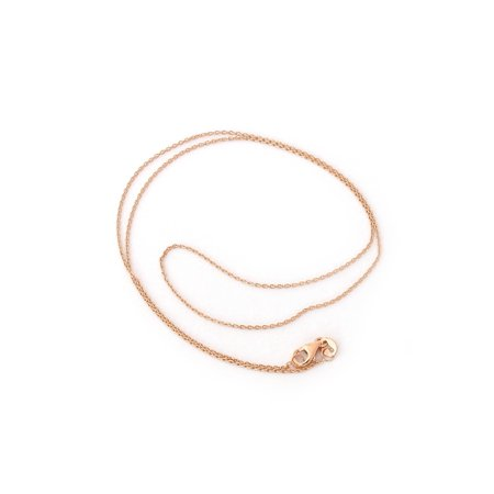 Solid 14k Yellow, White or Rose Gold 0.9mm Round Cable Link Chain Necklace with Lobster Lock, 16 18
