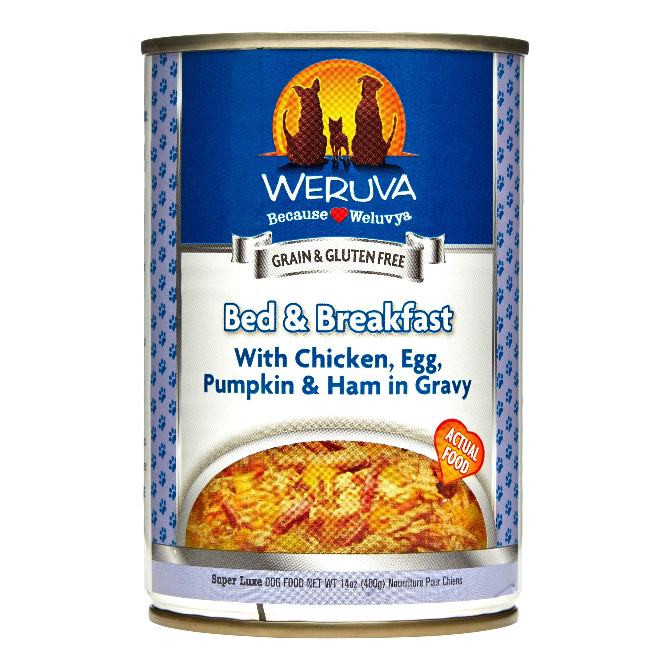 Weruva Human Style Grain-Free Bed & Breakfast with Chicken, Egg, Pumpkin & Ham Wet Dog Food, 14 Oz, Pack of 12
