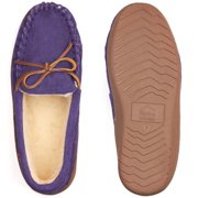 4386b2930 Alpine Swiss Sabine Womens Suede Shearling Moccasin Slippers House Shoes  Slip On Image 7 of 7