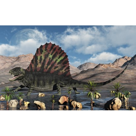 A Sail Backed Dimetrodon From Earths Permian Period Of Time Canvas Art   Mark Stevensonstocktrek Images  36 X 23