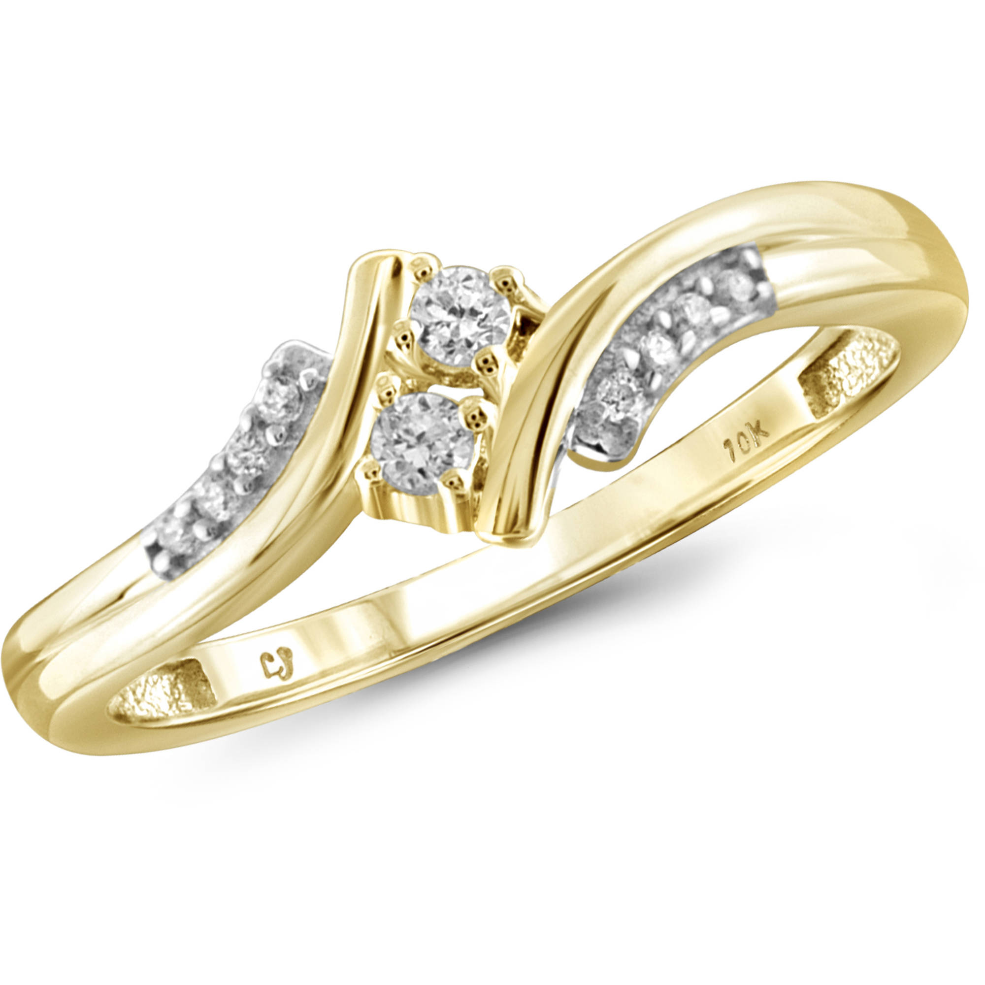 JewelersClub 1/10 Carat T.W. Round-Cut White Diamond 10kt Yellow Gold Two-Stone Ring
