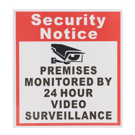 10pcs Security Notice Premises Monitored 24 Hour Video Surveillance Sign Sticker Safety Signs Decal - image 7 de 9