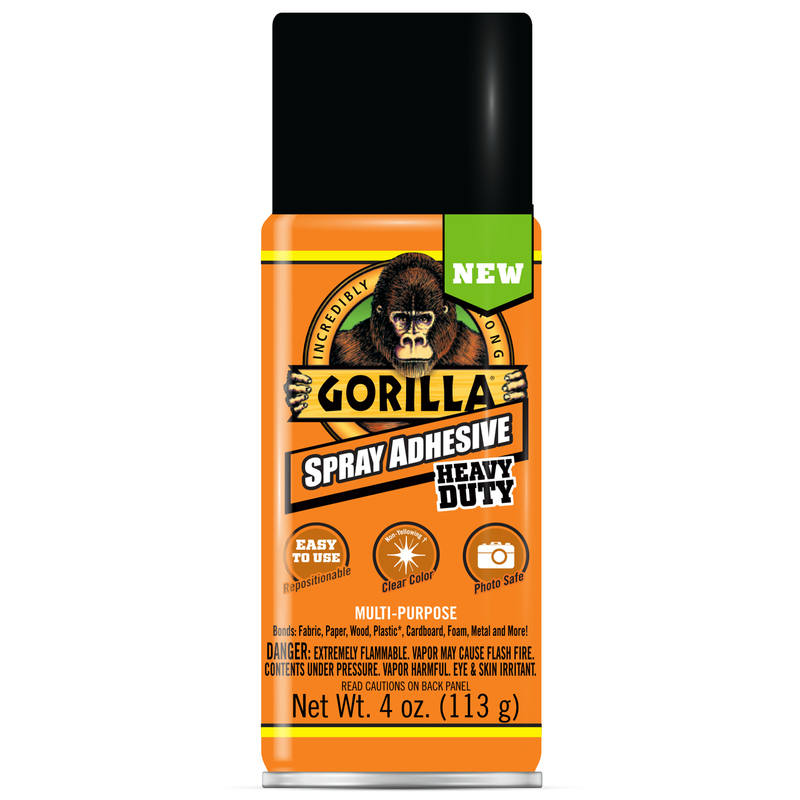 Gorilla 6346502 Heavy Duty Super Strength Spray Adhesive, Clear, 4 Oz