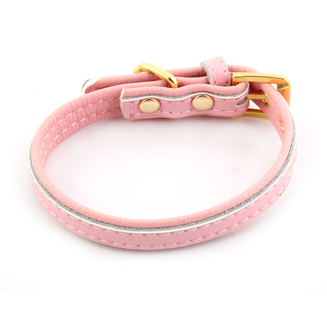 Faux Leather Adjustable Belt Metal Pin Buckle Pet Cat Dog Collar Pink Size XS