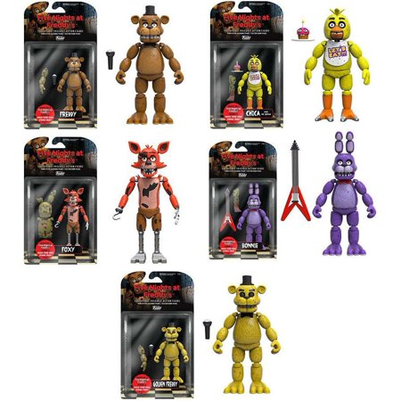 Freddy  Chica  Foxy  Bonnie   Golden Freddy Set Of 5 Action Figures