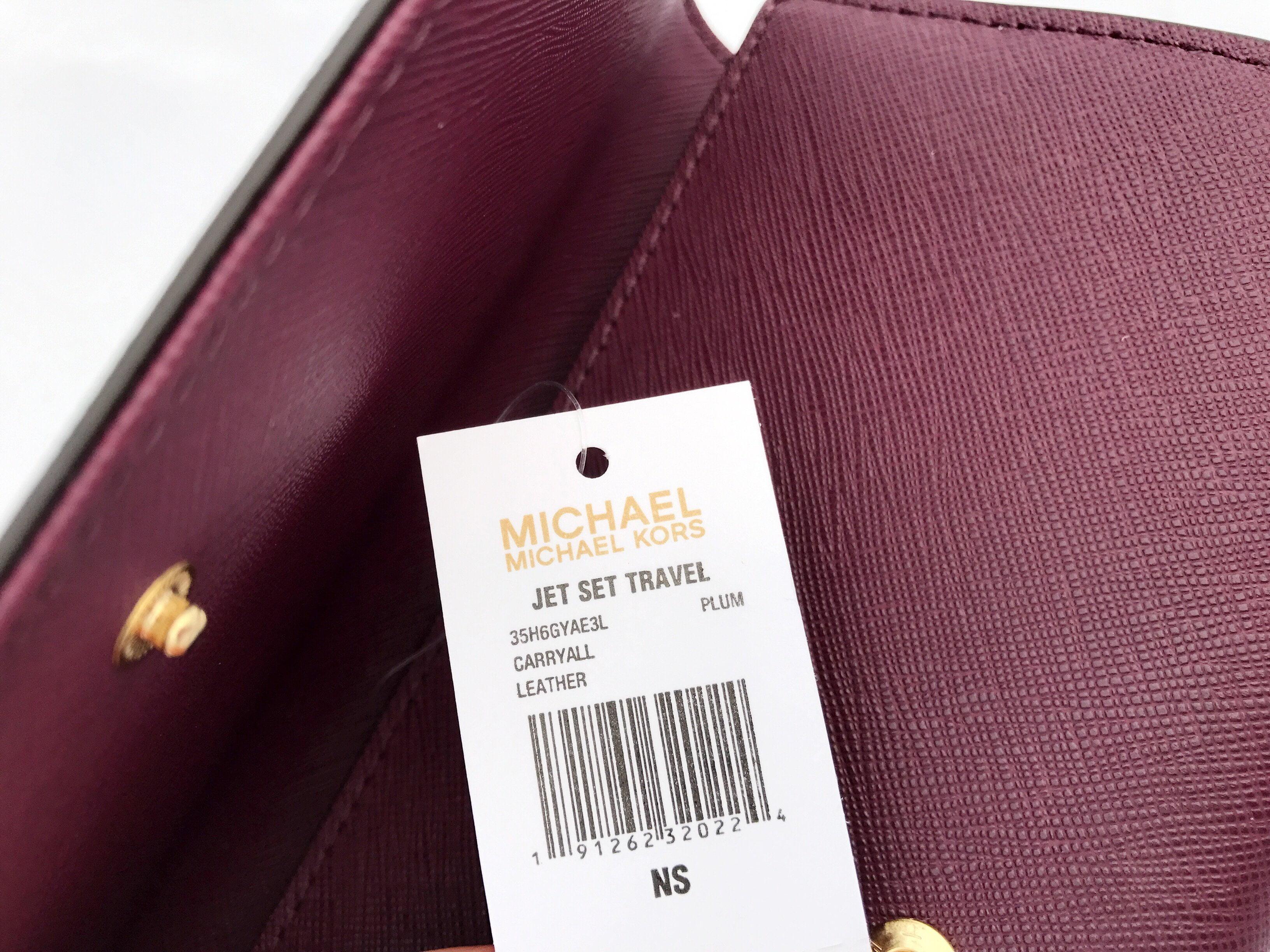 Michael Kors Jet Set Travel Wallet Saffiano Leather Jetset Plum Purple Large Clutch