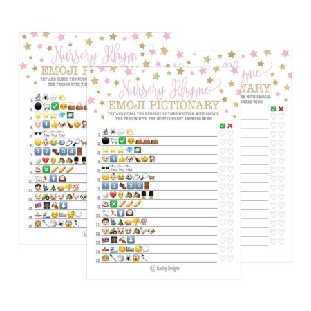 25 Pink Emoji Nursery Rhyme Baby Shower Game Party Ideas For Pictionary Quiz, Girls Kids Men Women and Couples, Cute Classic Bundle Pack Set Gold Stars Gender Neutral Unisex Fun Coed Guessing Card - Baby Shower Menu Ideas