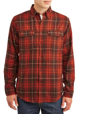 George Men's and Big Men's Long Sleeve Super Soft Flannel Shirt, up to size 3XLT
