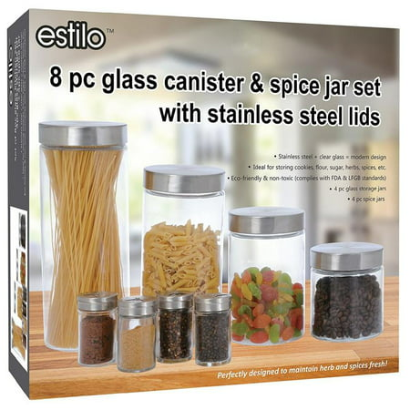 Estilo 8 Piece Glass Canisters And Spice Jar Set With Stainless Steel Screw On Lids (Small Glass Cookie Jars With Lids)