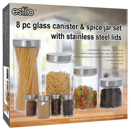 Robo Jam - Estilo 8 Piece Glass Canisters And Spice Jar Set With Stainless Steel Screw On Lids