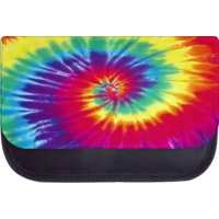 """Bright Tie Dye - 5"""" x 8.5"""" Black Multi-Purpose Pencil Case - Pencil Bag - with 2 Zippered Pockets and Nylon Lining"""