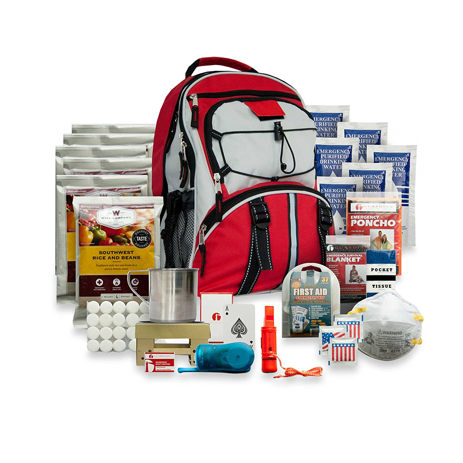 Wise Five Day Emergency Back;ack with Food & Water & First Aid for One Person (RED)