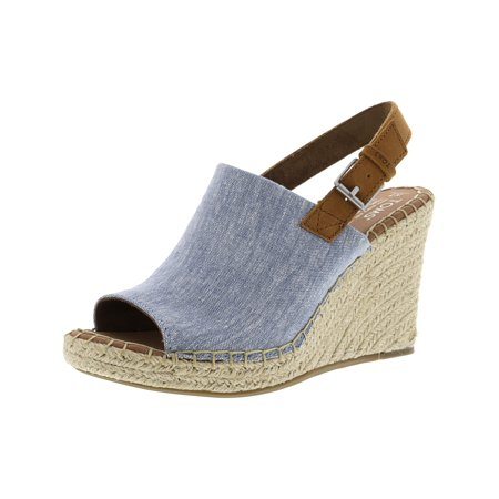 Toms Women's Monica Chambray And Leather Blue Fabric Wedged Sandal - 7.5M - Toms Ivory Wedges