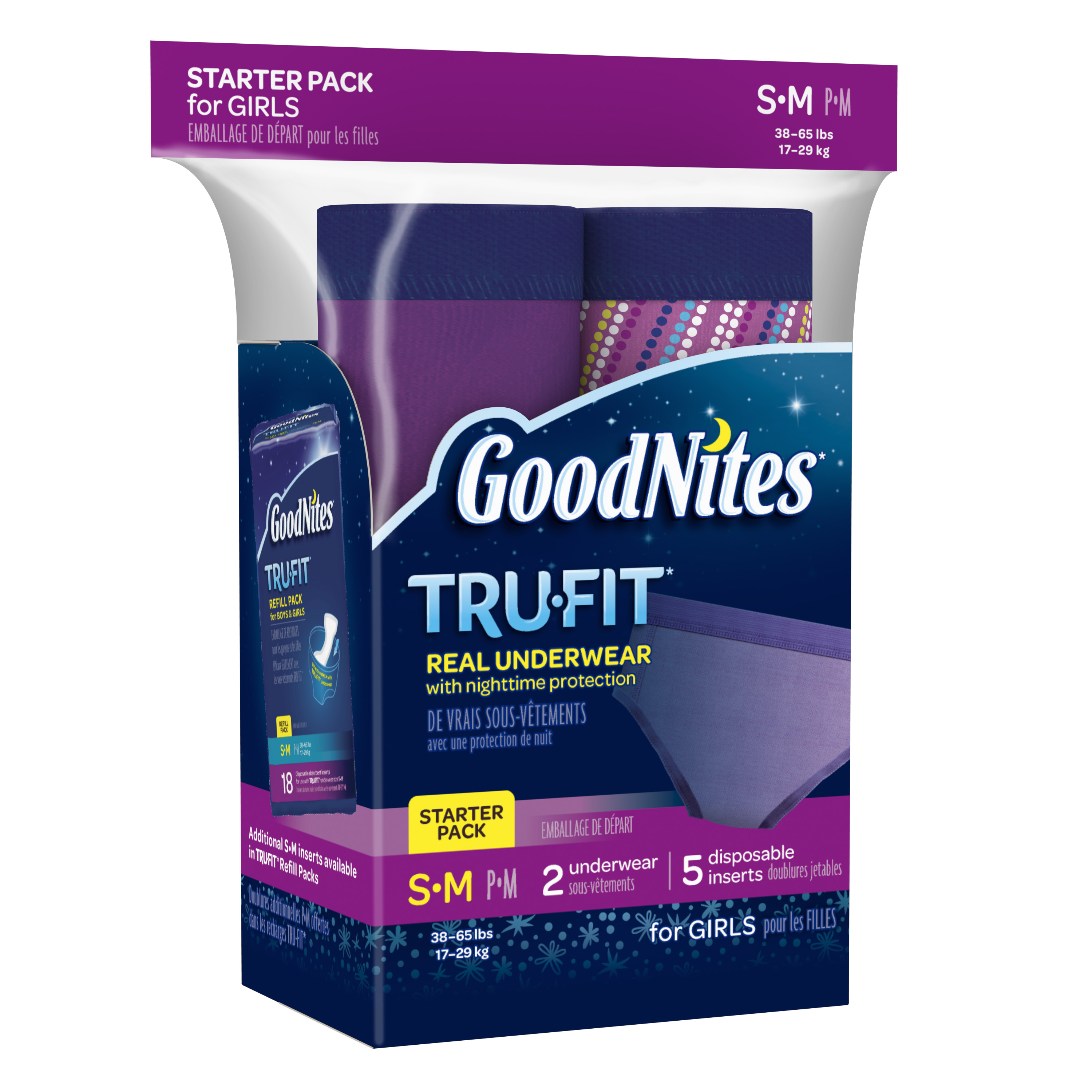 Goodnites Tru-Fit Bedwetting Underwear for Girls, Starter Pack