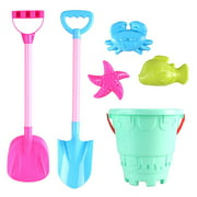6PCS Kids Beach Play Toy Set Beach Sand Toy Includes Sand Bucket Shovel & Mold