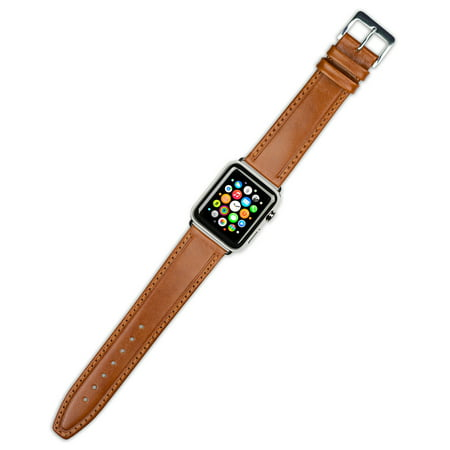 Apple Watch Strap - Calf Leather Watch Band - Havana - Fits 38mm Series 1 & 2 Apple Watch [Silver Adapters]