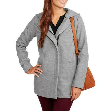 Maxwell Studio Women's Faux Wool Zip-Front Hooded Coat