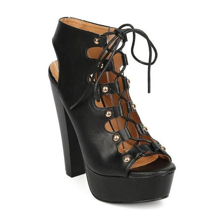 1fd8459d97 DbDk - New Women DbDk Christina-1 PU Peep Toe Lace Up Block Heel Platform  Sandal - Walmart.com